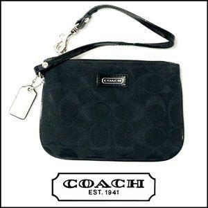 Coach Signature Black Cloth Wristlet Wallet